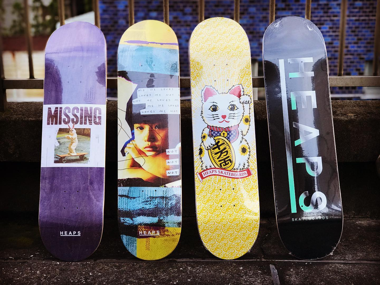 @heaps_skateboards 2020FW 左からMissing 8.25/Love not 8.125/Fortune 8/Metal 8.25 ¥9500+tax Fortuneモデルはinstant/heapsライダーの @masatomofujiwara と親交が深い @nob_honeyanddeath によるデザインです。