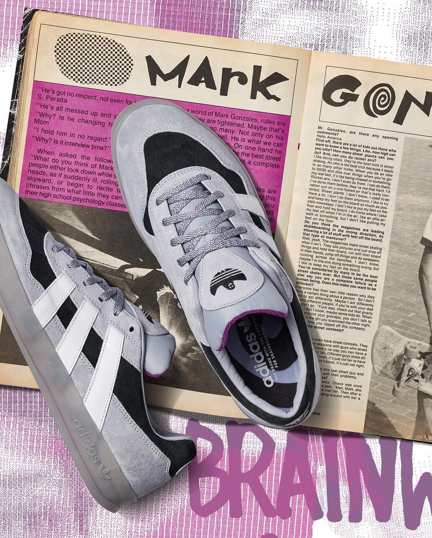 adidas skateboarding×Mark Gonzales /// ALOHA SUPERアディダス スケートボーディングとマーク・ゴンザレスのコラボによる限定エディションモデル。今回はスラッシャーマガジンの1986年9月号でゴンズが着用していたハンドメイドの 〈Brainwash Victim〉 Tシャツを着想源にしたデザインとなっています。アッパーは上質なスエードとレザーを使用。またオリジナルのシューズバッグの付属やシグニチャーが刻まれた専用シューズBOXなど、ワンランク上のスペシャルな仕上がりとなっております。
