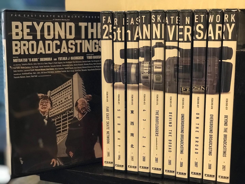 FESNから待望の新作'BEYOND THE BROARDCASTING' が到着。instantと同じく25thを迎えたFESNの最新作品必見です。DVDで再リリースされた95年からのアーカイブは日本のスケートの歴史がわかります。VXでの映像も存分に楽しめます#fesn#instantskateshop#i25tant