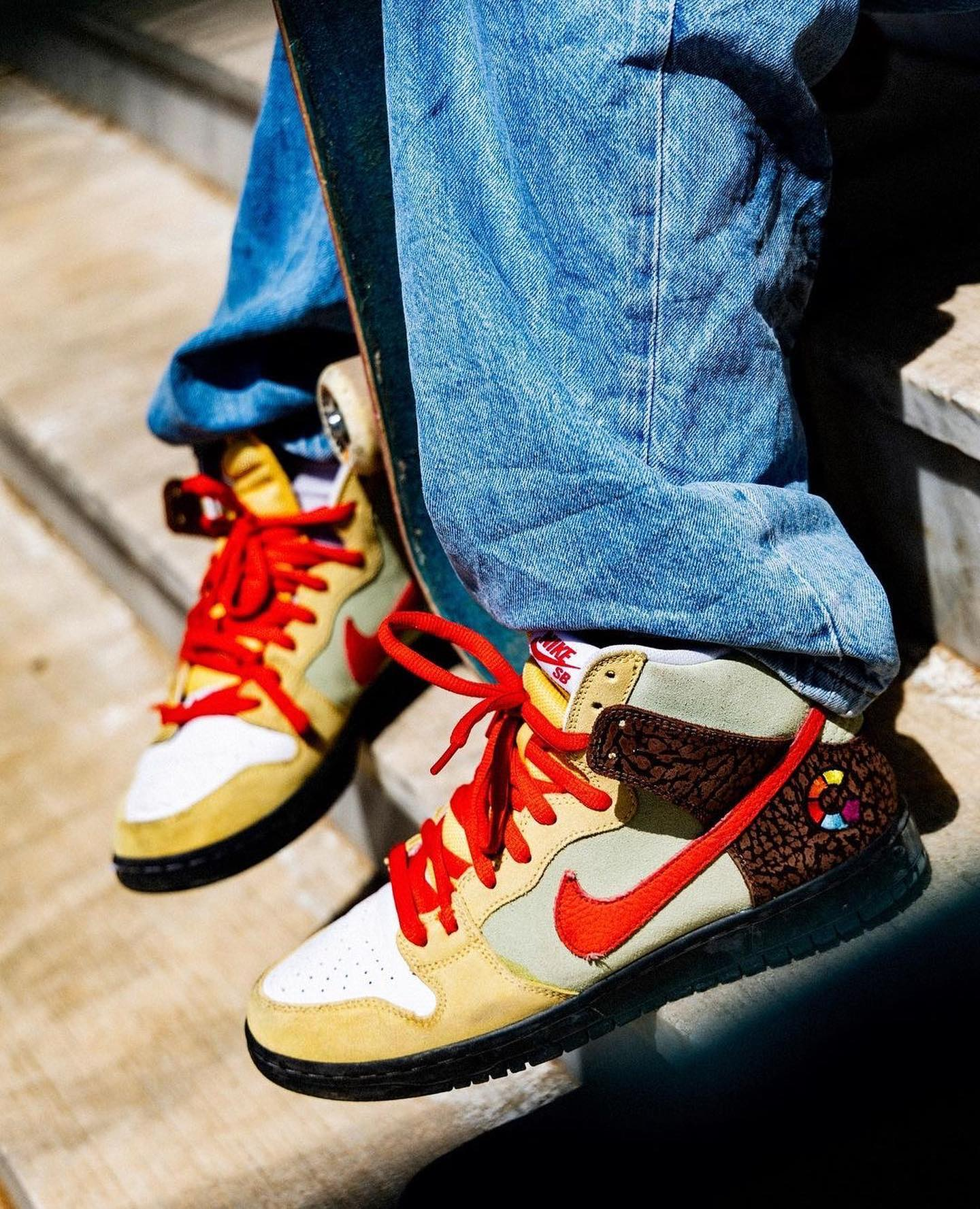 """🥙 @nikesb @color_skates is more than the central cog in Athens' skate scene. Certainly more than a place to just get gear. Color is where you post up before and after a session, and the """"Kebab and Destroy"""" SB Dunk High is a nod to the grab-and-go street food staple of Athens.Available Saturday, June 26 exclusively in select skate shops.See more at NikeSB.com."""