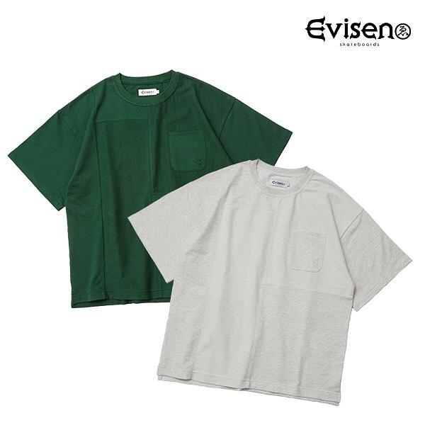 Evisen / EVESAN T-SHIRT厚すぎずしっかりめの裏パイル生地を両面使いしたポケットTシャツ。某有名な切り替えコントラストが主張しすぎず、こなれた印象を演出。背面には拘りのエビピヨ。