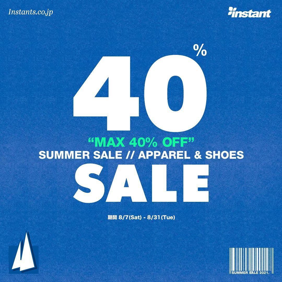 APPAREL&SHOES SUMMER SALE 8/7(土)~8/31(火)の期間で開催!! 今年もSUMMER SALEが明日から始まります。Tシャツやキャップなどの夏物アパレルとシューズが対象で今回なんとMAX40%OFF!!1点限りの人気商品もございますのでお早めにどうぞ!#instantskateshop