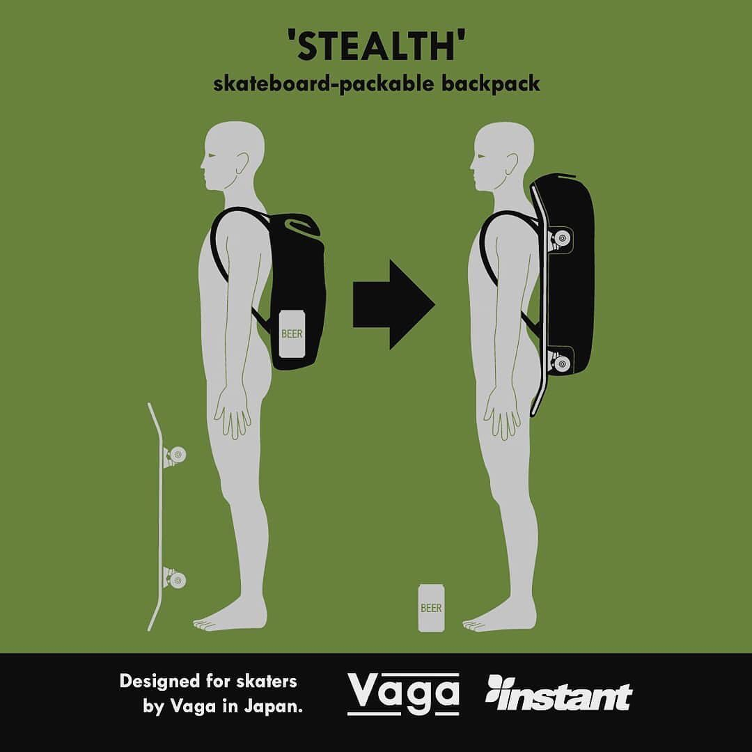 🤝🤝🤝Posted @withregram • @vaga_sb Vaga 'Stealth'Made exclusively for INSTANTVagaのフラッグシップモデル 'Stealth'は、スケートボード収納機能を備えたバックパックです。こちらのモデルは、INSTANT様での限定販売となります。@instant_chiba @instant_kichijoji @instant_shibuya @instant_odaiba @instant_skateboards @instant_shizuoka  #vaga #vagasb #vaga_sb #vagaskateboardbag