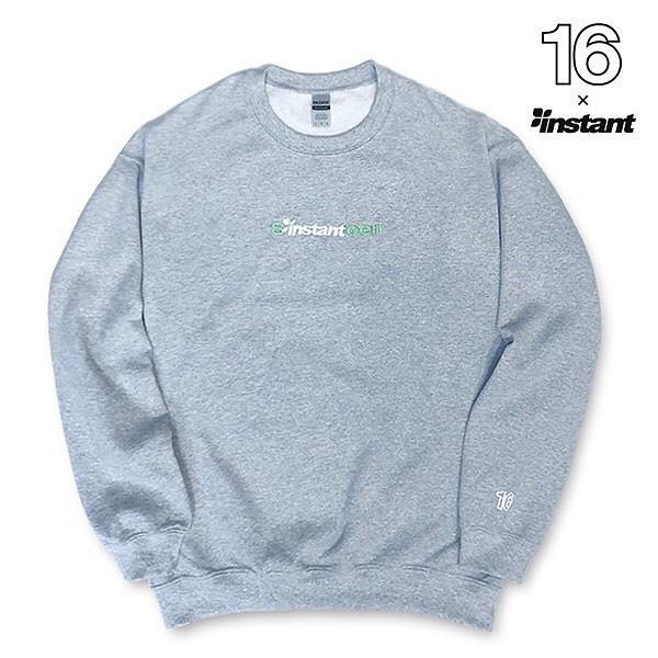 """本日発売!【instant 16 SW Crew】instantのロゴに16(Sixteen)のロゴを重ね刺繍をした""""instant 16 SW Crew""""は、袖口の16ロゴが発泡プリントで施され、クラシックでありながらも新しい渋谷のような雰囲気を表現しています。サイズ:M, L, XLカラー:Ash Gray価 格:¥8,800#16sixteen#instantskateshop#instantshibuya#miyashitapark"""
