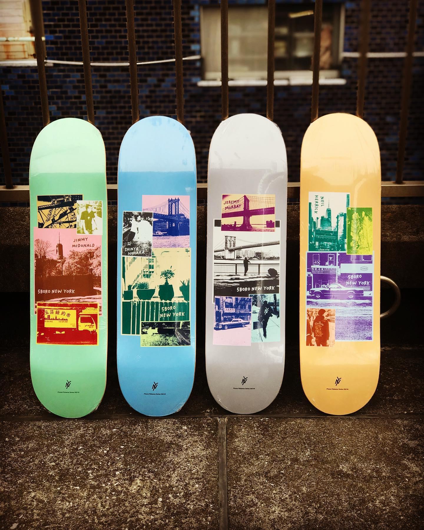 """New @5boronyc decks.1996年にニューヨークで誕生した老舗デッキカンパニー""""5BORO""""。5BOROの名前の由来は、NYCを代表する5つの地区 MANHATTAN、BRONX、BROOKLYN、QUEENS、STATEN ISLANDからきています。"""